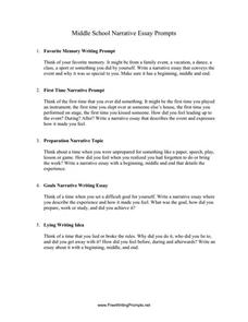 Prompts essay writing middle school