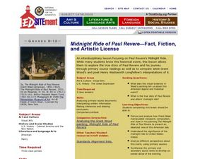 Midnight Ride of Paul Revere: Fact, Fiction, and Artistic License Lesson Plan