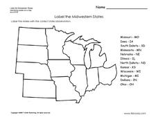 Midwestern States Worksheet