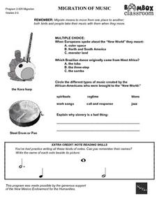 Migration of Music Worksheet