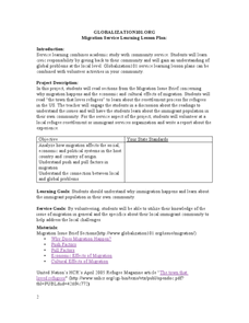 Migration Service Learning Lesson Plan Lesson Plan
