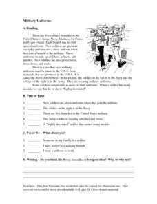 Military Uniforms: ESL Reading Comprehension Worksheet