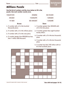 Millions Puzzle Worksheet