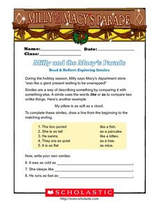 Milly and the Macy's Parade: Exploring Similes Worksheet