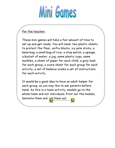 Mini Games Lesson Plan