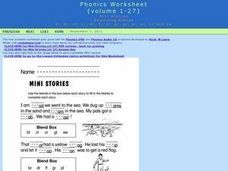 Mini Stories: Beginning Blends Worksheet