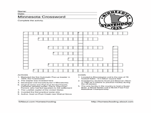 Minnesota Crossword Worksheet