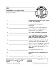 Minnesota Vocabulary Worksheet