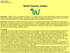 Miss Cheivous Snakes Lesson Plan