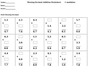 Missing Decimal Addition Worksheet Worksheet