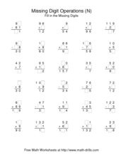 Missing Digit Operations (N) Worksheet