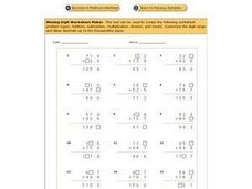 Missing Digits Worksheet