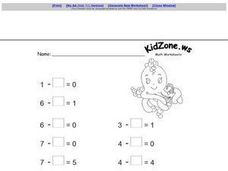 Missing Numbers in Subtraction (Zeroes) Worksheet