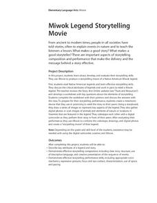 Miwok Legend Storytelling Movie Lesson Plan