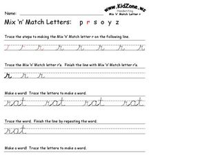 Mix 'n' Match Letters: R Worksheet
