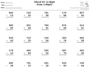 Mixed #1 (2-digit from 3-digit) Worksheet