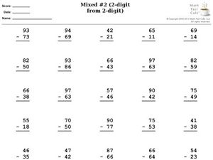 Mixed #2 (2-digit from 2-digit) Worksheet