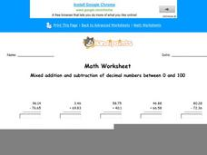 Mixed Addition and Subtraction of Decimal Numbers Between 0 and 100: Part 7 Worksheet