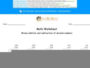 Mixed Addition and Subtraction of Decimal Numbers Worksheet