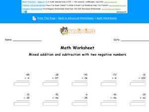 Mixed Addition and Subtraction Problems With Negative Numbers Worksheet