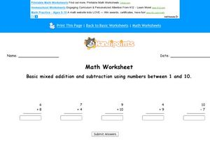 Mixed Addition and Subtraction Using Numbers 1-10: Worksheet 2 Worksheet