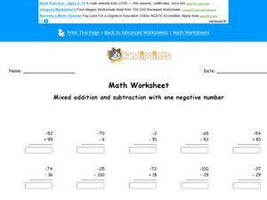 Mixed Addition and Subtraction Using One Negative Number: Worksheet 2 Worksheet