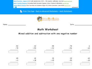 Mixed Addition and Subtraction With One Negative Number  #2 Worksheet