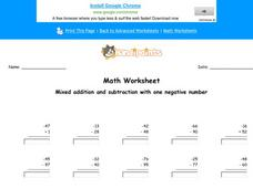 Mixed Addition and Subtraction with One Negative Number: Part 1 Worksheet