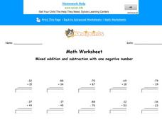 Mixed Addition and Subtraction with One Negative Number: Part 4 Worksheet