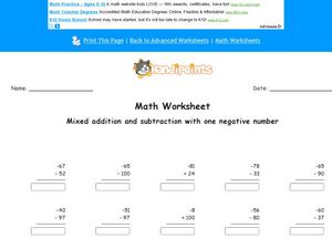 Mixed Addition and Subtraction with One Negative Number Worksheet