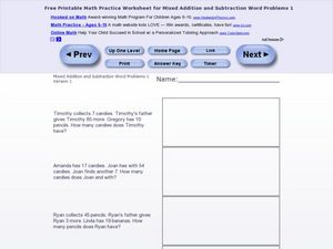 Mixed Addition and Subtraction Word Problems #1 Worksheet
