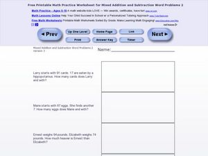 Mixed Addition and Subtraction Word Problems #2 Worksheet