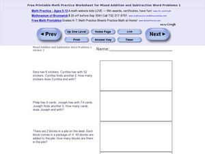 Mixed Addition and Subtraction Word Problems One- Version 3 Worksheet