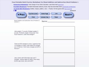 Mixed Addition and Subtraction Word Problems One- Version 4 Worksheet
