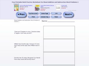 Mixed Addition and Subtraction Word Problems Two Version 1 Worksheet
