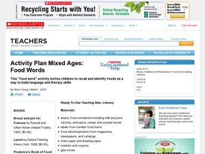 Mixed Ages: Food Words Lesson Plan