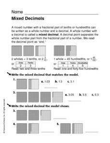 Mixed Decimals Worksheet