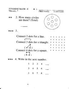 Mixed Kindergarten Math Practice Worksheet