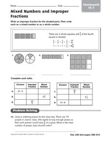 Mixed Numbers and Improper Fractions - Homework Worksheet