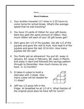 Mixed Operations Math Word Problems 2 Worksheet