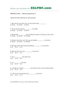 Mixed Prepositions Multiple Choice Worksheet Lesson Plan