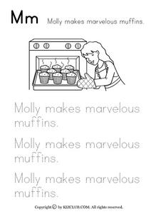 Mm--  Molly Makes Marvelous Muffins Worksheet