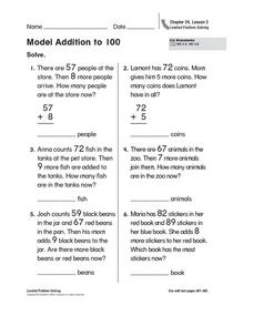 Model Addition to 100 Worksheet