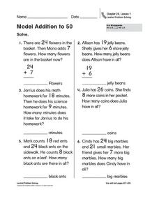Model Addition to 50 Worksheet