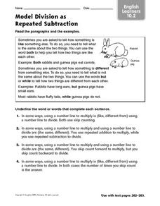 Model Division as Repeated Subtraction: English Learners 10.2 Worksheet