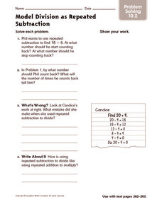 Model Division as Repeated Subtraction: Problem Solving Worksheet