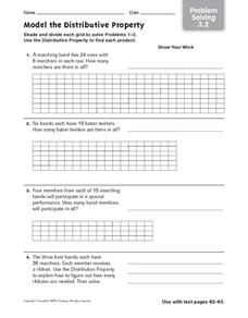 Model the Distributive Property: Problem Solving Worksheet