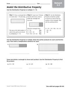 Model the Distributive Property: Reteach Worksheet
