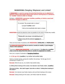 Dangling Modifier Worksheet 009 - Dangling Modifier Worksheet