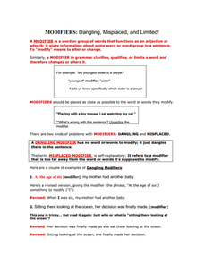 Printables Misplaced And Dangling Modifiers Worksheet misplaced and dangling modifiers worksheet plustheapp pics photos examples